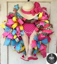 Summer wreath beach wreath deco mesh by MrsChristmasWorkshop