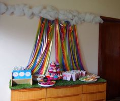 Rainbow & Cloud Backdrop - My Little Pony party