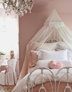 Hydrangea Hill Cottage. Just recently finished the Granddaughter's bedroom in pinks, greens and white.  Look at the little chair cover.  Love it.
