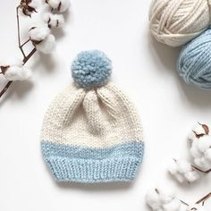 Baby Knitting Patterns Chunky How to knit a basic chunky hat with pompom Baby Hat Knitting Pattern, Baby Hat Patterns, Baby Hats Knitting, Knitting For Kids, Knitting Patterns Free, Free Knitting, Crochet Patterns, Free Pattern, Newborn Knit Hat