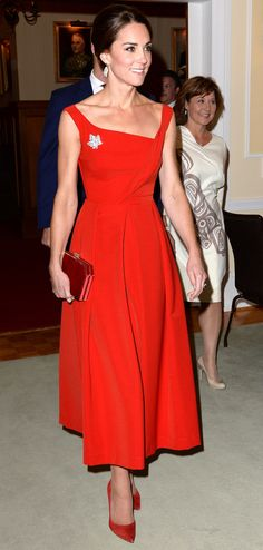 The Duchess of Cambridge wore a scarlet Preen by Thorton Bregazzi design yesterday, which sold out within hours despite it's $1700 tag. Here's how you can still get the look.