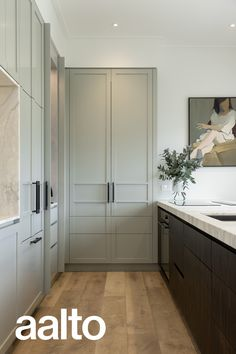 See how the team at Spatial Studio transformed this kitchen with the soft tones of Aalto Narrate 1/2 and Powdered Wig Living Room Kitchen, Home Decor Kitchen, Home Kitchens, Modern Kitchen Design, Interior Design Kitchen, Home Building Design, House Design, Beautiful Kitchens, New Homes