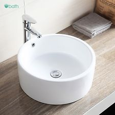 Round Ceramic Vessel Sink Bowl White Porcelain Bathroom Basin w/Pop Up Drain