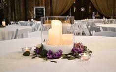 Wedding reception barn, wedding décor, winter wedding, wedding reception, wedding flower, wedding centerpiece. Rustic barn wedding and reception venue in Alabama whiteacresfarms.com