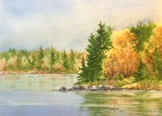 Another Fall Walk Around Boulevard Lake Watercolour painting by  Ken Crawford