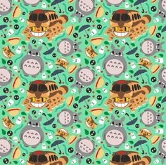Totoro pattern01 fabric by samtronika on Spoonflower - custom fabric