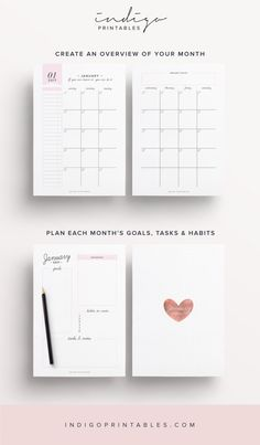 2017 Agenda planificateur de but mensuel par IndigoPrintables