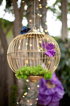 gold bridcage Midsummer Nights dream Bridal Shower www.poshshoppeflorist.com Posh Shoppe Florist purple gold garden shower