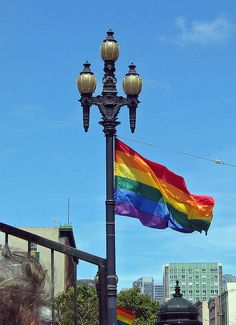 light with a pride flag
