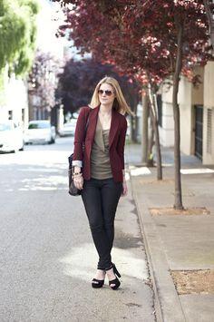 burgundy blazer + olive green top +black pants or jeans //Brittany Horton