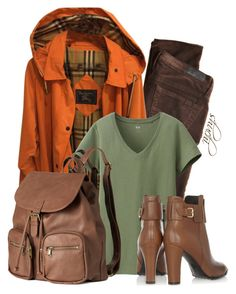"""""""Fall Casuals"""" by shuchiu ❤ liked on Polyvore featuring AG Adriano Goldschmied, Burberry, Uniqlo, H&M, Tod's, backpack, tods and fall2015"""