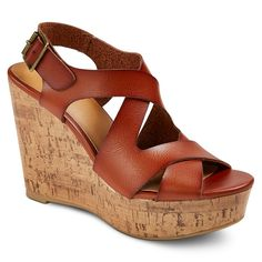 Women's Megan Wide Width Quarter Strap Sandals - Cognac (Red) 6.5W