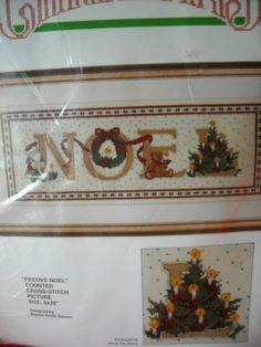 "Bucilla Christmas Festive Noel Counted Cross-Stitch Picture Size 8"" X 20""  Bid starts at 9.99"