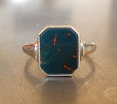 Art Deco Ring with Bloodstone