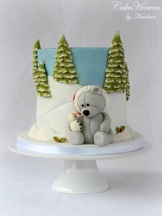 Bear And Snowman Christmas Cake 004 Sgnd Dzlb3Z