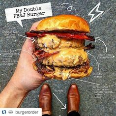#Repost @burgerorder with @repostapp #burgerorder | : @thehungrygentleman - Injured myself while playing tennis so I haven't been able to shop for groceries and I really wanted a burger.. So I went in my pantry and whipped up this bad boy: My Peanut Butter and Jelly Burger! This is why I always try to keep a well stocked pantry! Look in your pantry and see what fun and delicious burger creation you can come up with! #Sydney #Australia #peanutbutter #jelly #burger #burgerporn #burgerorder…