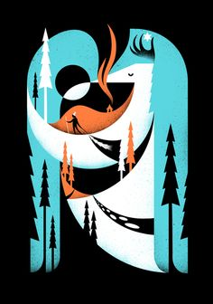 Awesome Ski hill graphic by Matt Chase #texture #retro #screenprint