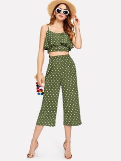 To find out about the Polka Dot Flounce Cami Top & Culotte Pants Co-Ord at SHEIN, part of our latest Two-piece Outfits ready to shop online today! Cropped Cami, Cami Crop Top, Cami Tops, Look Fashion, Skirt Fashion, Fashion Outfits, Western Dresses, Western Outfits, Cool Outfits