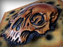 can I get some oooos and aaaaas? skull leather work.