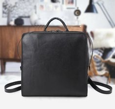 0cb6bcfa24c1 Black leather square minimalistic zipper backpack. Store OnlineAesthetic ...