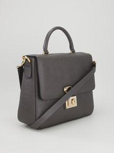 DOLCE & GABBANA - Grey shoulder bag with leather strap #dolce&gabbana #bag #shoulderbag #leatherbag #women #fashion