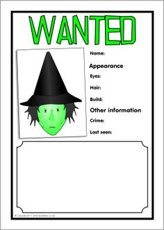 Witch wanted poster writing frames (SB3721) - SparkleBox