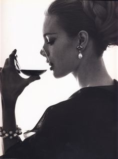 How I like to think I look while sipping wine :) Photographed for Vogue by Bert Stern in 1962