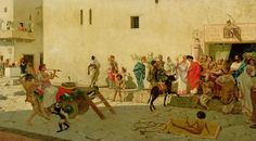 Modesto Faustini, A Roman Street Scene with Musicians and a Performing Monkey.