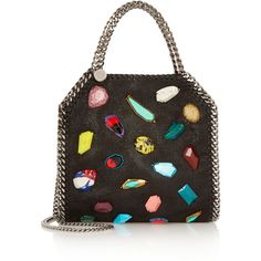 Stella McCartney The Falabella mini embellished faux brushed-leather... (£1,050) ❤ liked on Polyvore featuring bags, handbags, shoulder bags, black, shoulder strap handbags, faux-leather handbags, mini purse, mini shoulder bag and faux leather shoulder bag