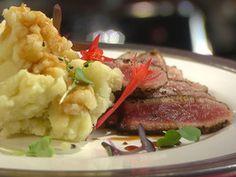 pepper crusted tuna steak w/teryaki sauce and wasabi mashed potatoes