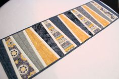 Modern Table Runner Quilt in Gray and Mustard by QuiltSewPieceful
