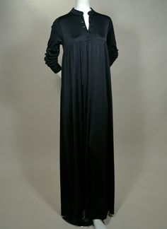 """""""ANNE KLEIN, I. MAGNIN"""" - EARLY 70's INK BLACK JERSEY LONG SLEEVE GOWN - AVAILABLE AT RPVINTAGE.COM"""
