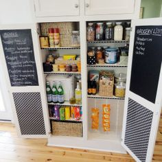 chalkboard paint on inside of pantry doors for grocery list and weekly menu