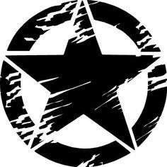 Distressed Army Star Premium Vinyl Decal #Oracal651
