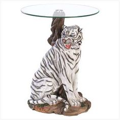 WHITE TIGER SCULPTURAL BASE HOME ACCENT GLASS TOP TABLE - Click image twice for more info - See a larger selection of  glass coffee tables at http://zcoffeetables.com/product-category/glass-coffee-tables/ - home, home decor, home ideas, home furniture, office furniture, table, gift ideas, living room,