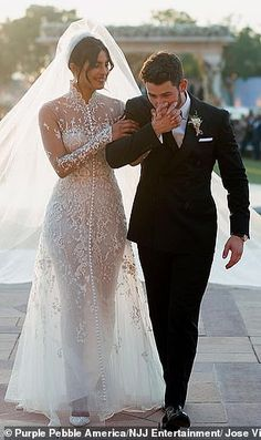 Celebrity Wedding Dresses And Itss Clones ★ celebrity wedding dresses sheath high neck with illusion sleeves priyanka chopra raiph lauren Indian Wedding Poses, Indian Wedding Photography, Wedding Pics, Amazing Wedding Dress, Cheap Wedding Dress, Perfect Wedding, Celebrity Wedding Dresses, Celebrity Weddings, Ivanka Trump
