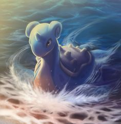 Lapras in the sea.