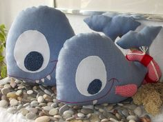 Blue whale toys mother and baby  Blue whale by MadeByMiculinko, $30.00