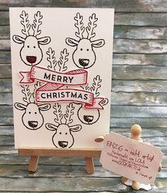 """Schnelle witzige Weihnachtskarte  Ja gestern habe ich Euch schon von dem Weihnachtsmann Lebkuchenmann etc. Set erzählt. Und deshalb zeige ich heute auch die Renntiere. Die rote Nase von Rudolf oben in der Ecke habe ich übrigens mit Nagellack aufgemalt es kommt in dem Welt nicht richtig raus - in Live ist das nett und wie gelackt ;-)  Das """"Merry Christmas"""" kommt aus einem anderen Set das (wie so oft und so schön bei Stampin' up!) zu den Fähnchen-Thinlets aus dem Hauptkatalog passen. Diese…"""