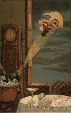 """A Happy New Year"" postcard, (American, The image features; champagne bottles, the moon, and a clock set to midnight in celebration of the New Year. Vintage Greeting Cards, Vintage Christmas Cards, Vintage Postcards, Sun And Stars, Sun Moon Stars, Constellations, Vintage Happy New Year, You Are My Moon, Vintage Moon"