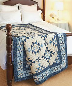 You'll welcome the blues when you make this blue and white quilt. Two-color quilts never go out of style, and this one is definitely a classic! Diane Tomlinson designed this spectacular quilt using three of her favorite blocks.