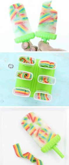 Popsicles These taste SO good! So easy to make too. Just use Airheads Rainbow Candy for the cutest ice pop popsicles ever!These taste SO good! So easy to make too. Just use Airheads Rainbow Candy for the cutest ice pop popsicles ever! Rainbow Candy, Rainbow Food, Rainbow Drinks, Rainbow Stuff, Cake Rainbow, Frozen Desserts, Frozen Treats, Baking Desserts, Frozen Fruit