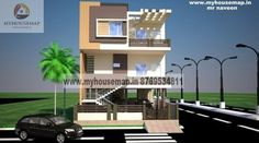 modern elevation design of residential buildings Building Front, Building Design, 3 Storey House Design, Front Elevation Designs, House Map, House Plans, Buildings, Mansions, House Styles