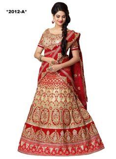 Outstanding Cream And Red Embroidery Zari Work Bridal  Lehenga Choli http://www.angelnx.com/Lehenga-Choli/Wedding-Lehenga-Choli