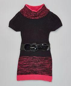 Pink Oversize Collar Belted Sweater Dress - Toddler & Girls #zulily #zulilyfinds