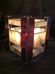 Large Purple and Grey Stained Glass Candle Holder. $35.00, via Etsy.