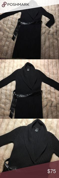 Theory Cardigan x Wool Sweater x Jacket x Long Women's Large - Beautiful medium / Long Theory 100% Wool Cardigan Sweater - comes to a bit below the knees and is super comfy and flexible. Has snaps and a leather waist belt. Color is black - worn twice :) Theory Sweaters