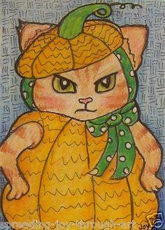 TW ACEO Oct Original Pumpkin Chubbs Malloy Halloween Costume Fall Cat Kitty