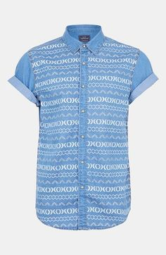 Topman Short Sleeve Pattern Print Denim Shirt available at #Nordstrom