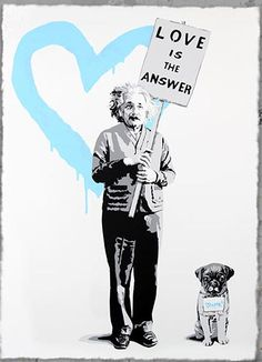 "MR Brainwash Solo show. Art, Cpt (Until 16 February Image: ""Love = 2012 Silkscreen ed 70 Mr Brainwash, Einstein, Arte Pop, Pop Art, Red Crayon, Photos Of The Week, New Print, Pink Love, Urban Art"